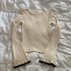 Ribbed Bell Sleeve Top